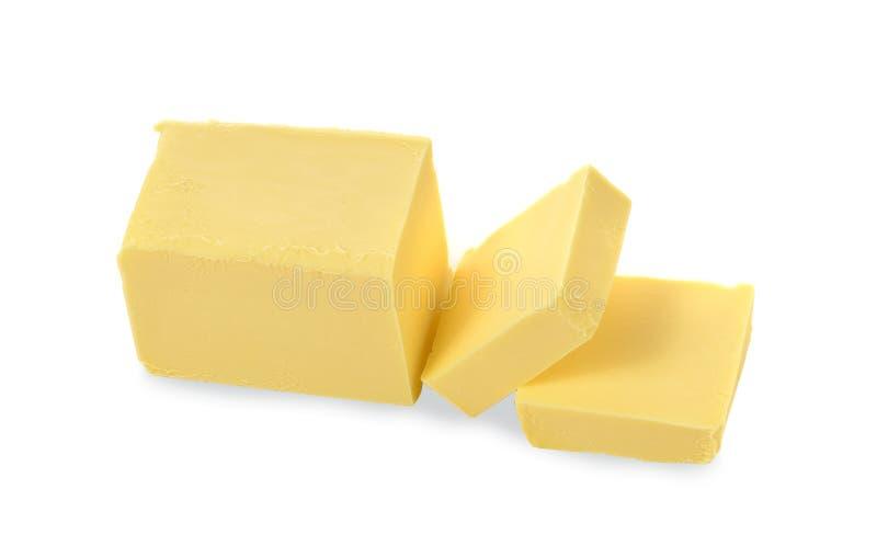 Odgórnego widoku masło na białym tle zdjęcie stock