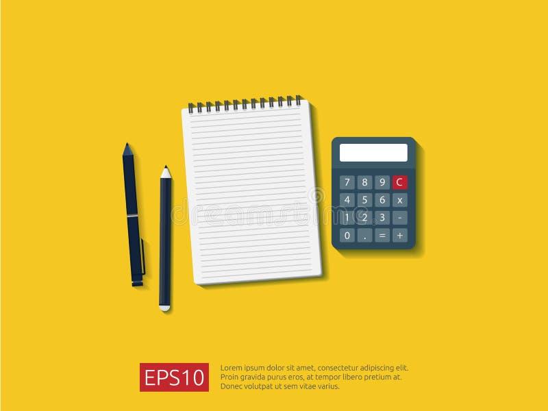 odgórnego widoku nutowego papieru pusty prześcieradło z kalkulatorem, ołówkiem i piórem na workdesk wektoru ilustraci, royalty ilustracja