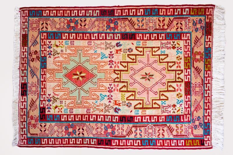 Odgórnego widoku pełni szczegóły perski handmade kilimu dywanik pokazuje th zdjęcie stock