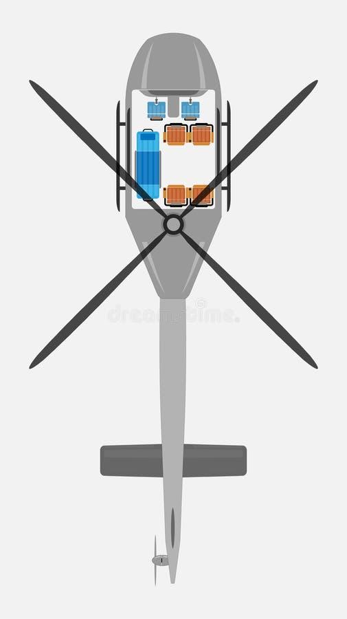 Odgórnego widoku przedstawienia Seat mapa Ambulansowy Śmigłowcowy wektor royalty ilustracja
