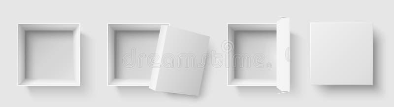 Odgórnego widoku pudełko Otwartego pakunku kwadratowi pudełka z otwartą nakrętką, opróżniają pakunku mockup ilustracji 3d odizolo royalty ilustracja