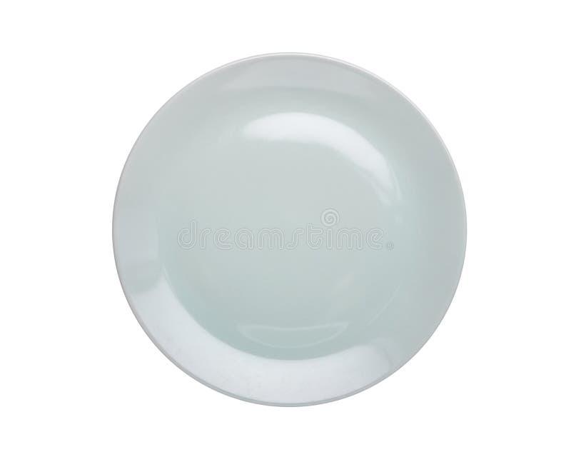 Odgórnego widoku pusty biały nowy ceramiczny kuchenny naczynie odizolowywający na bielu zdjęcia stock