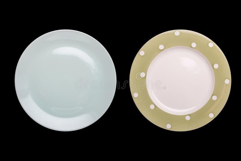 Odgórnego widoku pusty biały nowy ceramiczny kuchenny naczynie odizolowywający na czerni zdjęcia stock