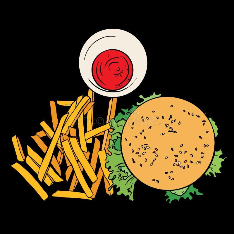 Odgórnego widoku Odgórnego widoku ręka rysujący cheeseburger z smażyć grulami Nakreślenia humburger z sałatą ameryka?skie jedzeni royalty ilustracja