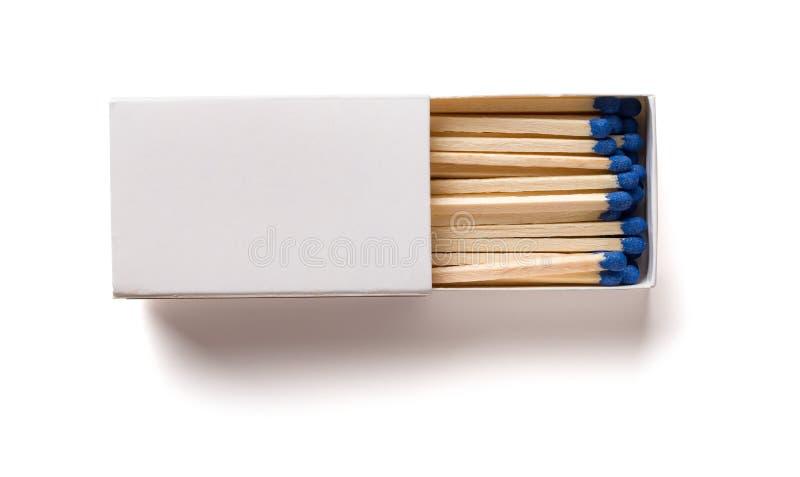 Odgórnego widoku rozpieczętowany matchbox z ścinek ścieżką obrazy royalty free