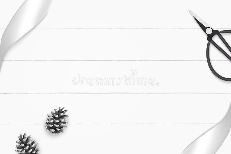 Odgórnego widoku składu eleganckiego białego srebra sosny rocznika i rożka metalu tasiemkowi nożyce na drewnianym podłogowym tle royalty ilustracja