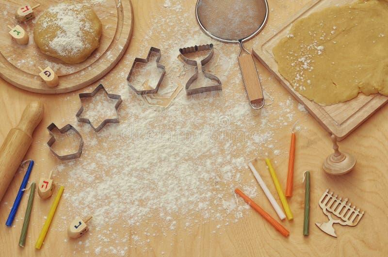 Odgórnego widoku wizerunek żydowski wakacyjny Hanukkah pojęcie