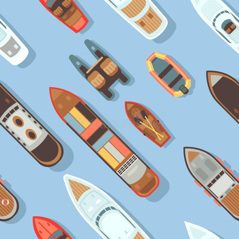 Odgórnego widoku wysyłki i statku denna diagonalna łódkowata bezszwowa tekstura royalty ilustracja