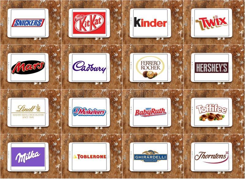 Odgórni sławni czekolada gatunki, logowie i zdjęcia royalty free