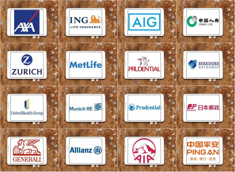 Odgórni sławni firma ubezpieczeniowa logowie, gatunki i zdjęcia stock