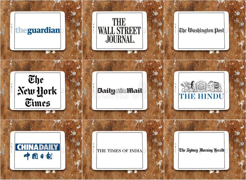 Odgórni sławni gazetowi logowie i gatunki zdjęcia stock