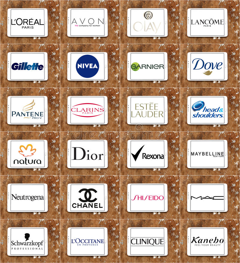 Odgórni sławni kosmetyki, makeup gatunki i logowie i obraz stock