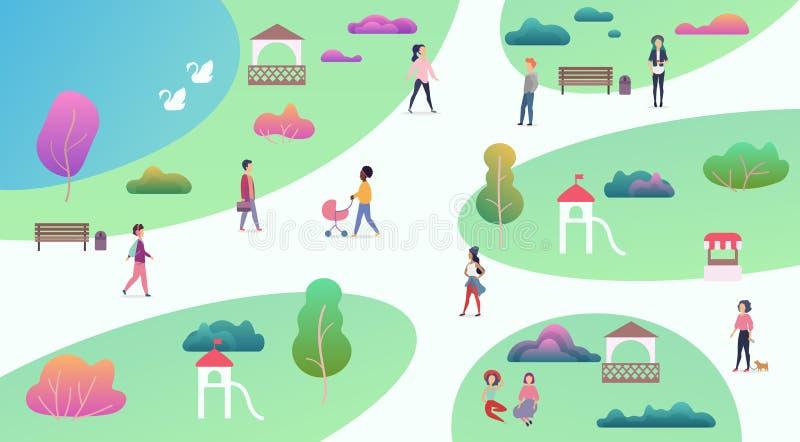 Odgórny mapa widok różnorodni ludzie przy parkowymi odprowadzenia i spełniania czasu wolnego plenerowego sporta aktywność Z jezio ilustracji