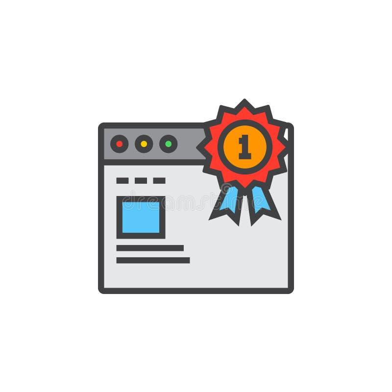Odgórny ranking strony internetowej symbol najpierw miejsce medal i przeglądarki internetowej li royalty ilustracja