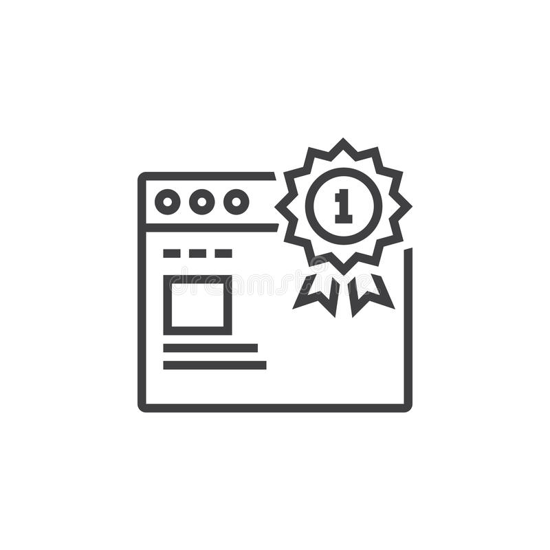 Odgórny ranking strony internetowej symbol najpierw miejsce medal i przeglądarki internetowej li ilustracji
