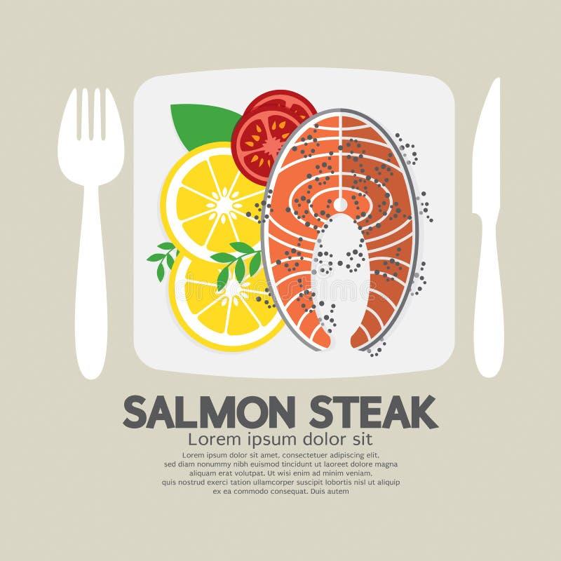 Odgórny widok łososiowy stek ilustracja wektor