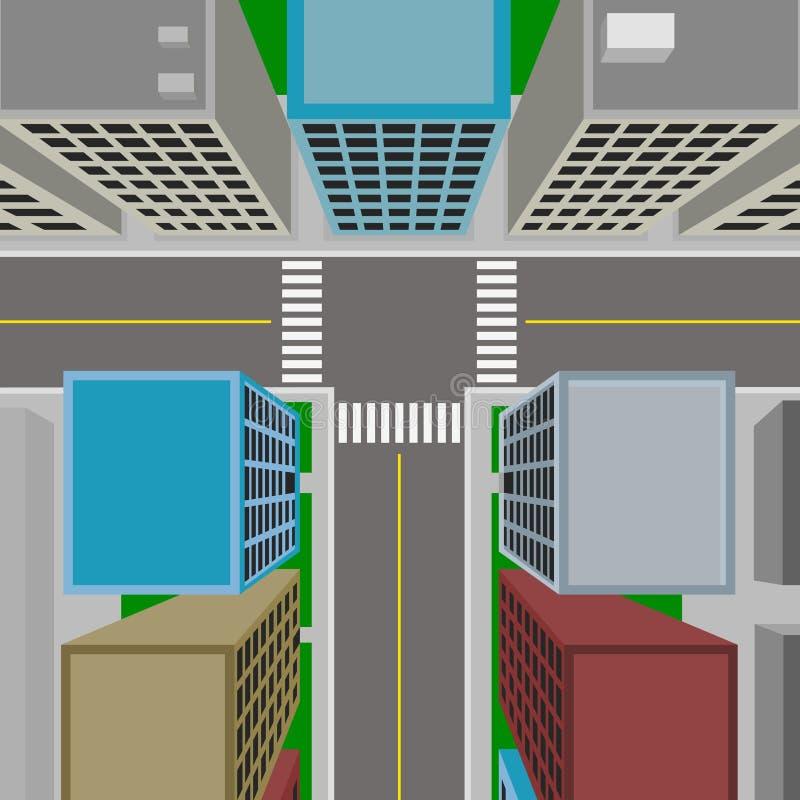 Odgórny widok śródmieście, 3d wektorowy miasto w płaskim projekcie ilustracja wektor
