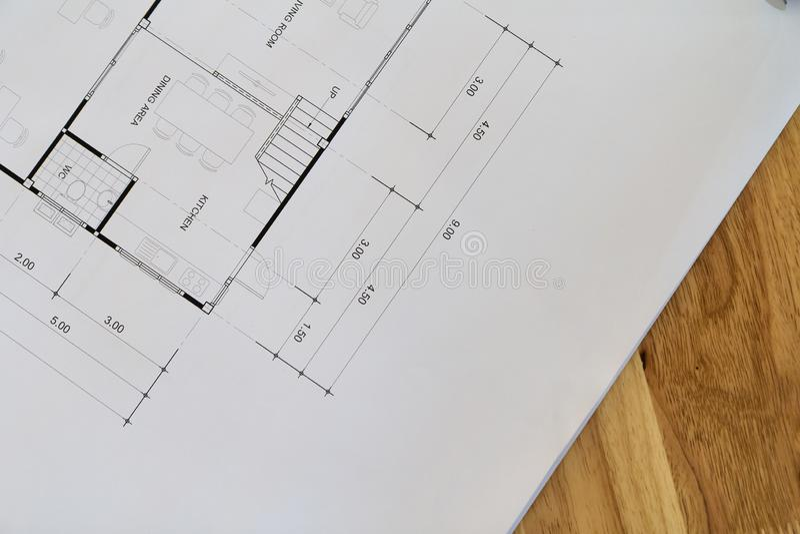 Odgórny widok architektoniczny projekt z czarny i biały szczegółami na architekta biurku obraz royalty free