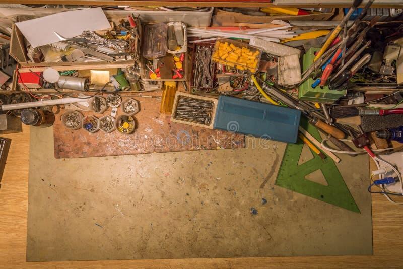 Odgórny widok biurko wolna przestrzeń obraz stock