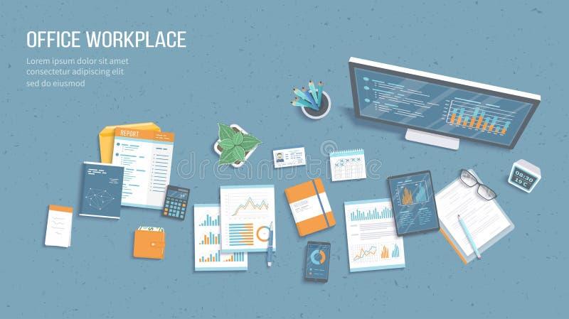 Odgórny widok biurowy miejsce pracy z biznesowymi biurowymi dostawami, monitor, pastylka, dokumenty Mapy, grafika na monitoru ekr royalty ilustracja