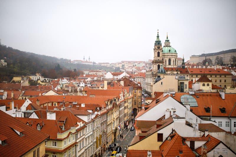 Odgórny widok budynek w Praga fotografia stock