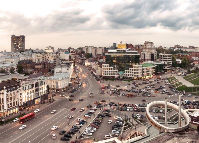 Odgórny widok centrum Kazan Hotelowy Kazan, Tatarstan zdjęcie royalty free