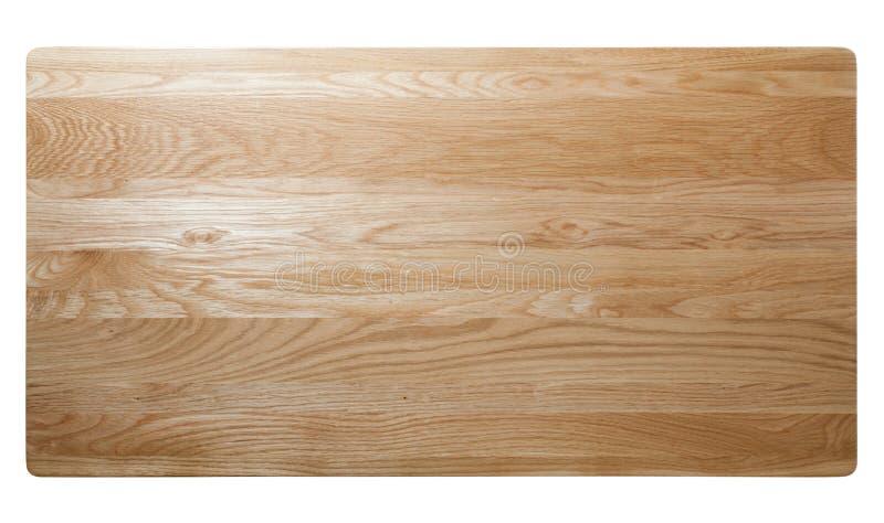 odgórny widok dębowego drewna stół obraz stock