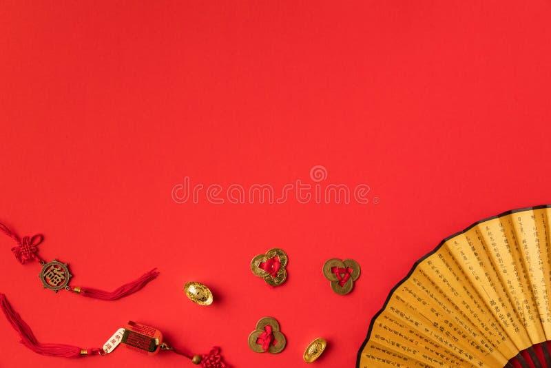 odgórny widok dekoracyjny orientalny fan i dekoracje zdjęcie stock