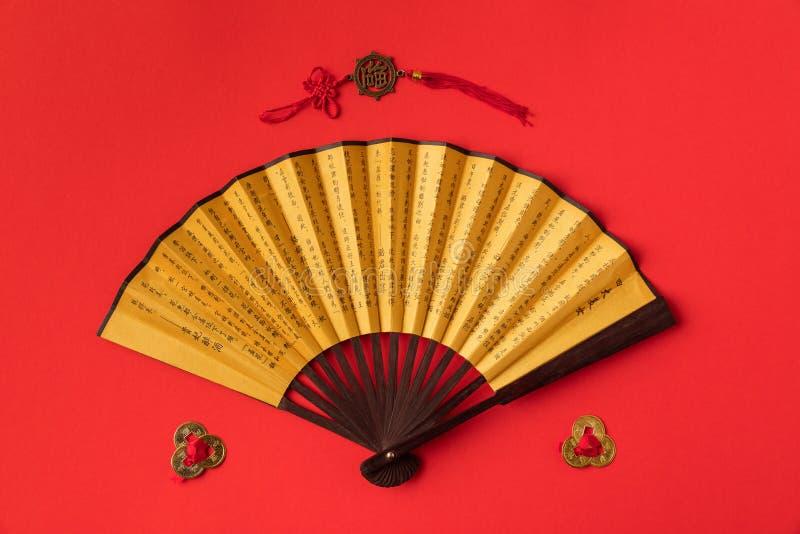 odgórny widok dekoracyjny orientalny fan i dekoracje zdjęcia royalty free