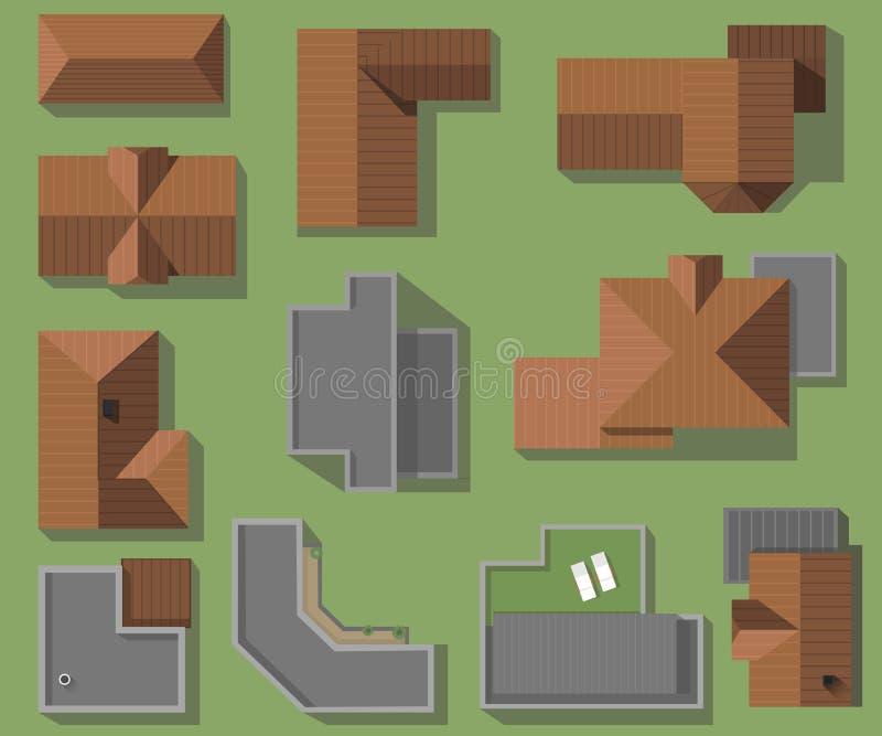 Odgórny widok domy, dachy, wektoru set Nowożytni, zaawansowany technicznie i klasyczni dekarstwo domy, royalty ilustracja