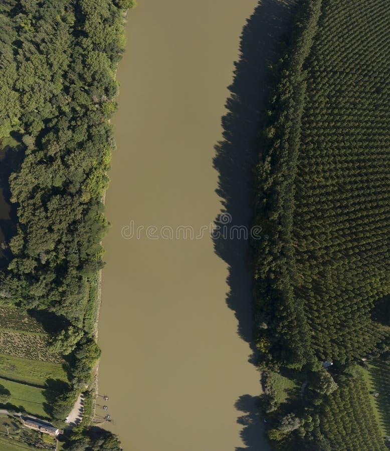 Odgórny widok Garonne rzeki tropikalny las deszczowy fotografia royalty free