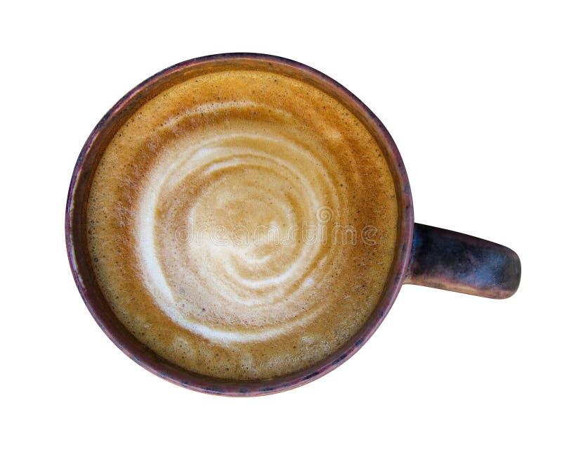 Odgórny widok gorąca kawowa latte cappuccino filiżanka odizolowywająca na białych półdupkach zdjęcie stock