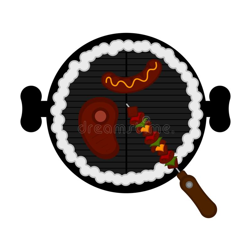 Odgórny widok grilla grill ilustracji