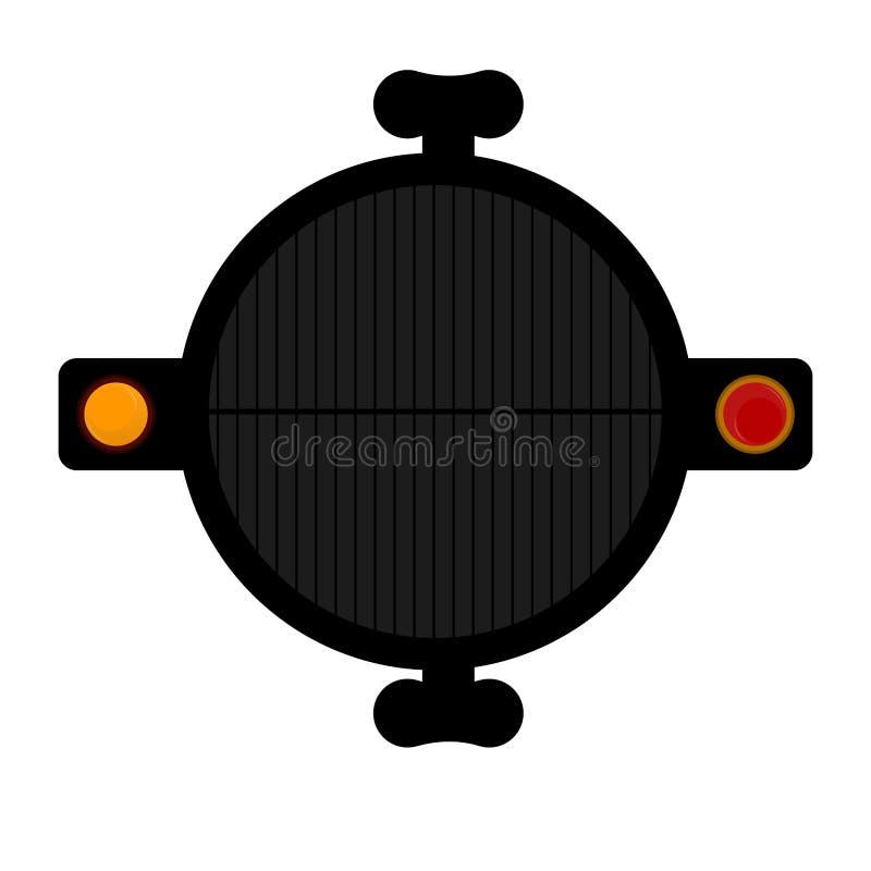 Odgórny widok grilla grill ilustracja wektor