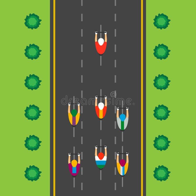 Odgórny widok grupa cykliści przy profesjonalista rasą Jechać przez miasta royalty ilustracja