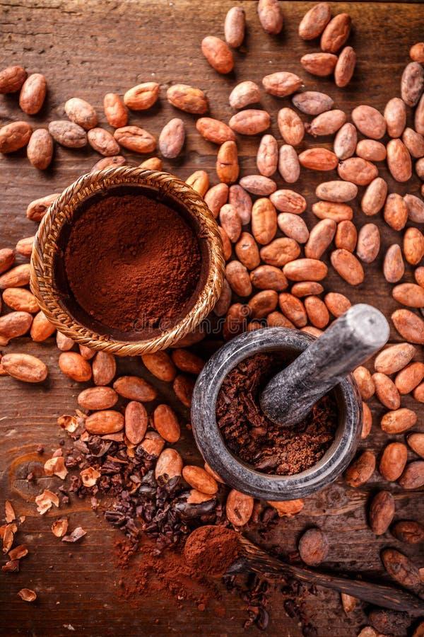 Odgórny widok kakaowe fasole fotografia royalty free