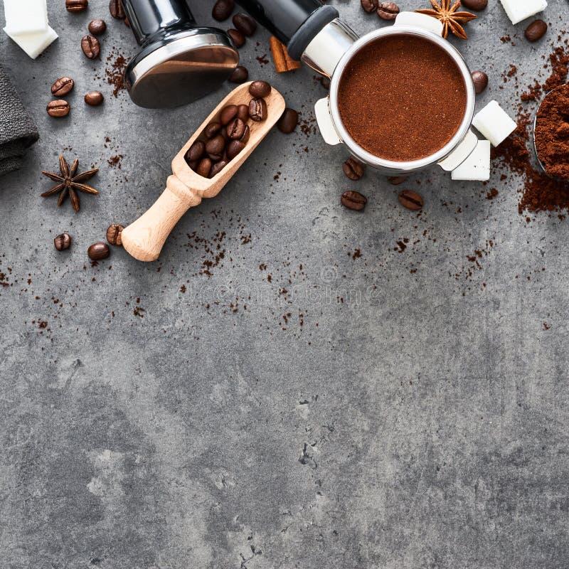 Odgórny widok kawowy tło obraz stock