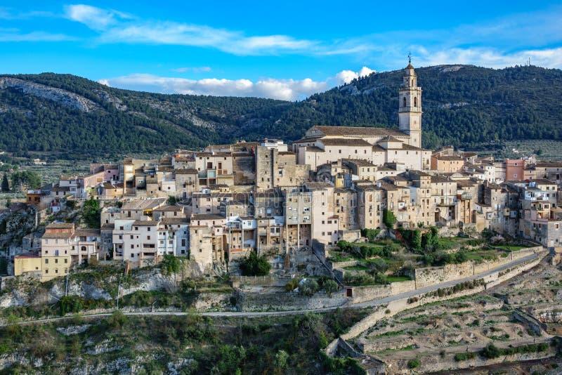 Odgórny widok klasyczny zbocza miasteczko Bocairent obraz royalty free