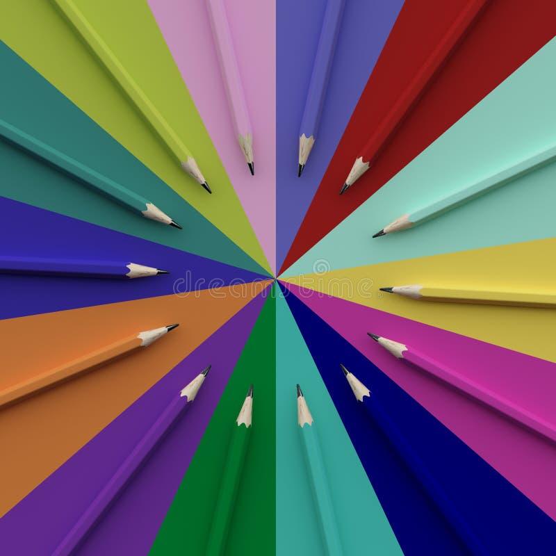 Odgórny widok kolorowi ołówki wokoło okręgu kształta na kolorowym bac ilustracji