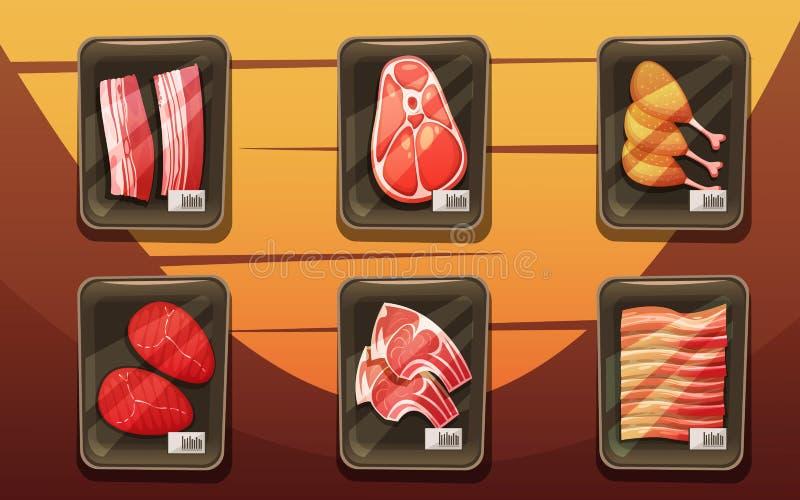 Odgórny widok kontuar Z tacami Mięśni produkty ilustracja wektor