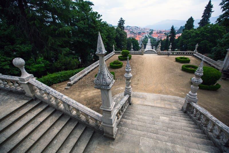 Odgórny widok Lamego miasto, północny Portugalia Natura obraz royalty free