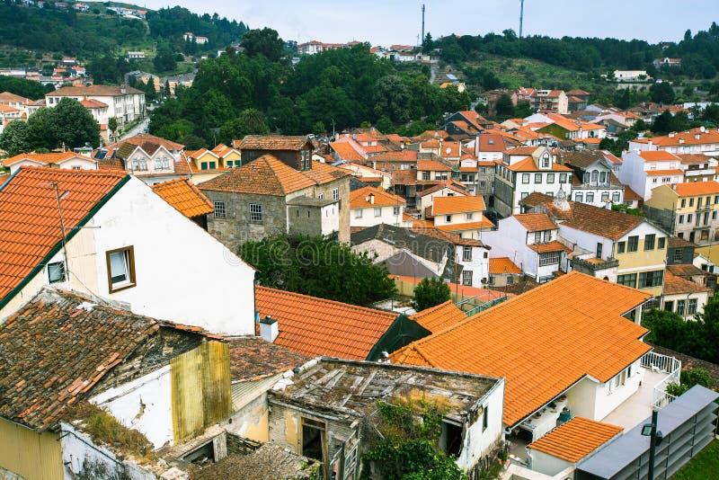 Odgórny widok Lamego miasto, północny Portugalia Podróż zdjęcia royalty free