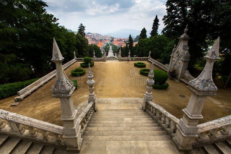 Odgórny widok Lamego miasto, północny Portugalia Podróż zdjęcie stock