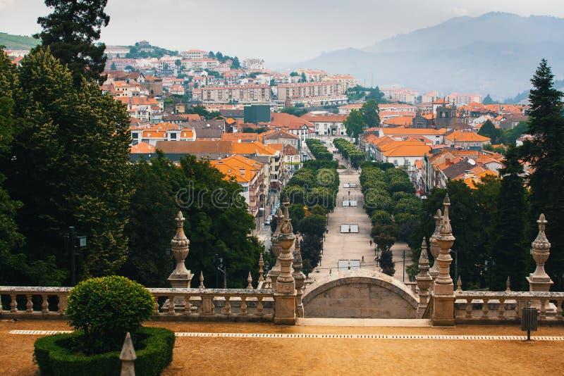 Odgórny widok Lamego miasto, północny Portugalia Podróż zdjęcie royalty free