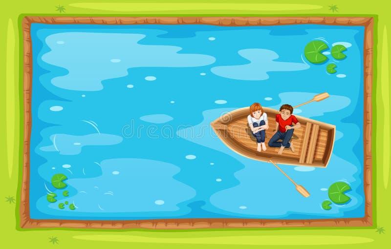 Odgórny widok ludzie wiosłuje łódź w stawie royalty ilustracja
