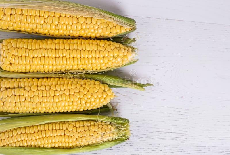 Odgórny widok młoda kukurudza przewodzi na białym drewnianym tle Przestrze? dla teksta zdjęcie royalty free