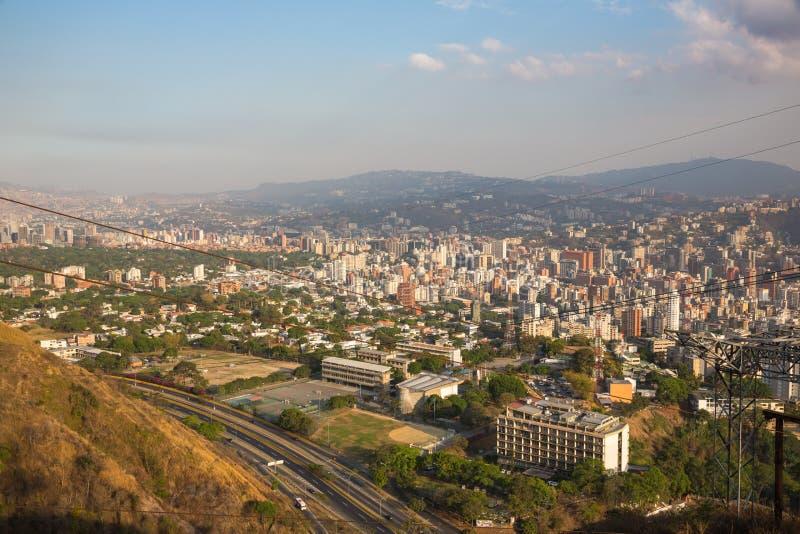 Odgórny widok miasto Caracas obraz stock