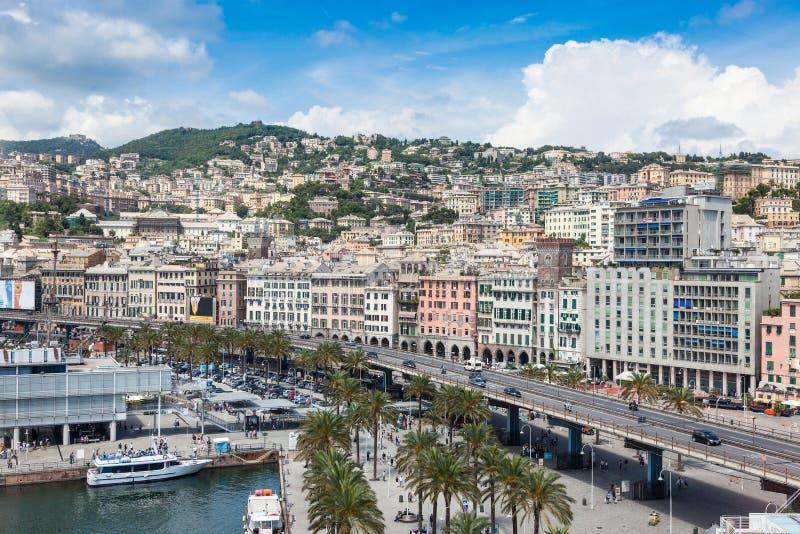 Odgórny widok miasto genua, Włochy obraz royalty free