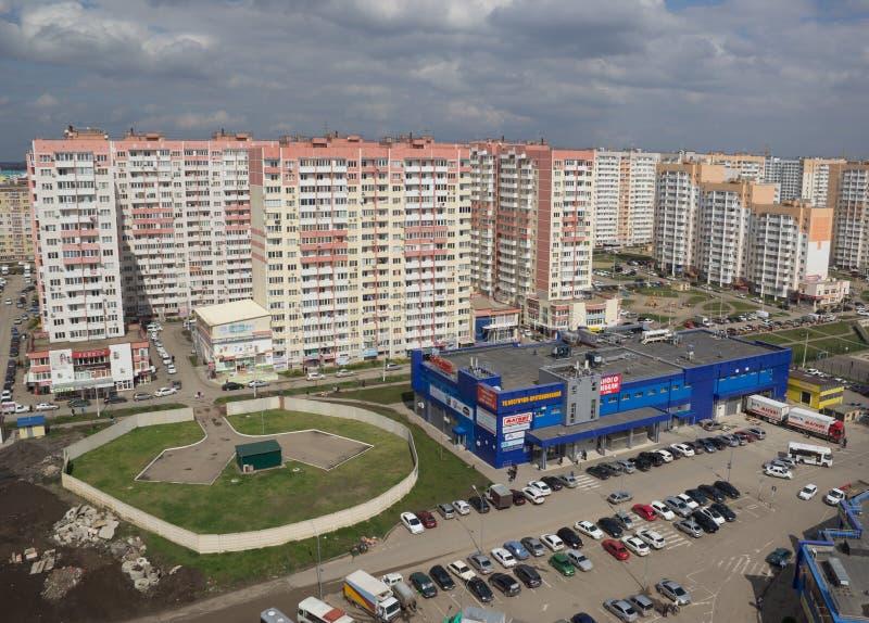 Odgórny widok miasto Krasnodar zdjęcia stock