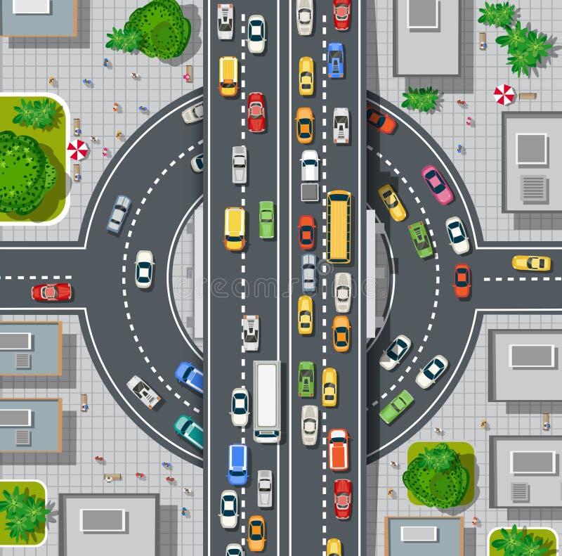 Odgórny widok miasto mapa ilustracji